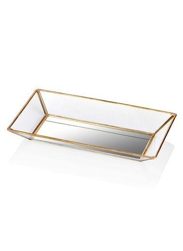 The Mia Brass Dekor Tepsi 26 x 15 Cm Renksiz